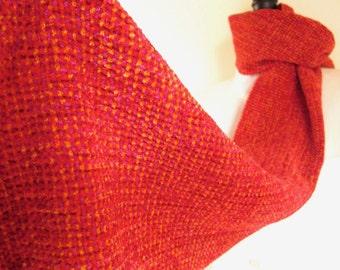 Bright Red-Orange Velvety Soft Chenille Handwoven Scarf