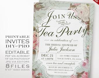 Bridal Shower Tea Party Invitation Template - Vintage Rose Shower Invitation Printable DIY Country Bridal Shower Invitation Editable Invite