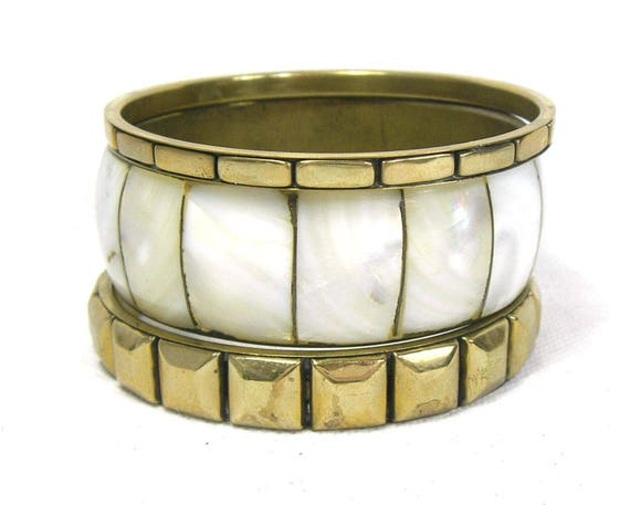 Vintage Set of Brass and Mother of Pearl Bangles