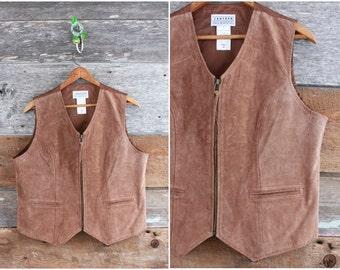 80 s veste en cuir par Jantzen | gilet en cuir daim marron des années 1980 | grand des hommes unisexe taille moyenne ou les femmes