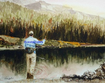 FLY FISHING PRINT / Fly Fishing art print / Fly Fishing Painting ( 11 x 14 Fly Fisherman print) Father's Day Gift Christmas