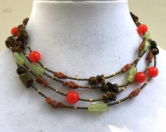 "Brown red mint multi wrap necklace, 68"" super long, Natural stone beads, Jade tiger eye, Boho chic jewelry, Multicolor folk necklace, OOAK"