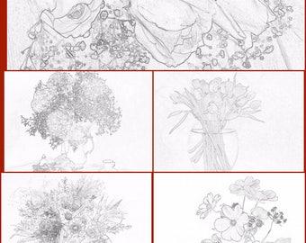Set of coloring pages (5 pages) pdf file flowers bouquet