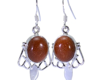 Goldstone Earrings, 925 Sterling Silver, Unique only 1 piece available! color brown, weight 5.2g, #32494