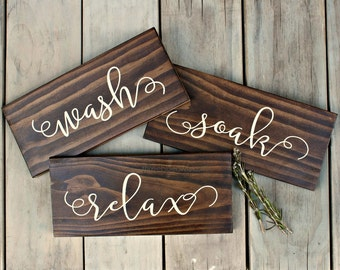 Bathroom Sign - Wash Soak Relax - Bathroom Art - Rustic Home Decor - Bathroom Rules - Bathroom Rules Sign - Spa Sign - Calligraphy Sign