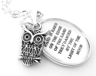 Owl and Pussycat Silver Pendant Necklace Edward Lear Black and White