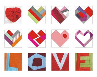Valentine PDF paper pieced Pattern quilt LOVE and hearts instant download