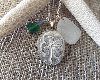 Sea Glass Necklace from Ireland White and Silver with Lucky Four Leaf Clover, Irish Jewelry