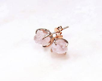 Rose Quartz Rose Gold Earrings. Rose Quartz Earrings. Bridesmaid Gift. Bridal Jewelry. Rose quartz bridal earrings. Rose quartz studs.