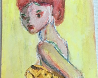 Original ACEO Watercolor Painting Collage: Lady in Yellow Top
