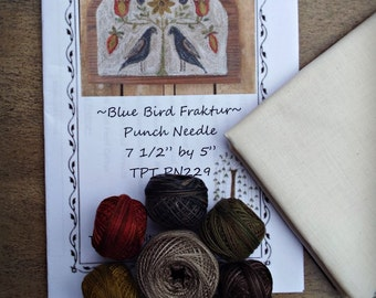 Punch Needle Kit Valdani Threads Weavers Cloth PN229 Blue Bird Fraktur Pattern