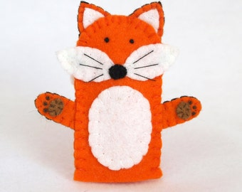 Fox felt finger puppet, felt finger puppet, finger puppet, fox, fox puppet, felt puppet, orange fox, puppet