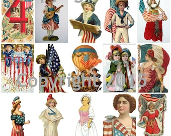 Patriotic Images Collage Sheet, Digital Scrapbooking, Prints, Instant Digital Download PDF File