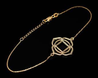 14K Gold Muladhara (Root) Chakra Yoga Bracelet (yellow, white, rose gold)