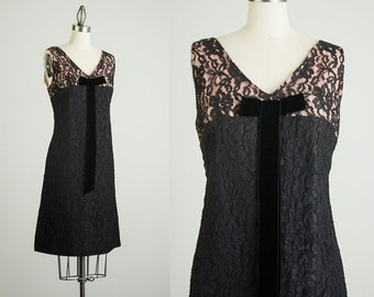 60s Vintage Black And Pink Lace Shift Style Party Dress / Size Small / Medium