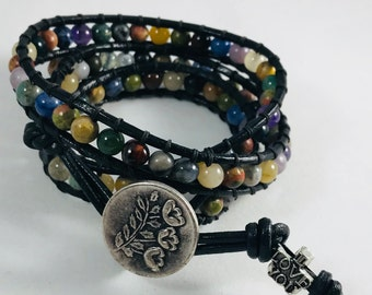 Beautiful Semi-Precious Stone, Leather 3 wrap Boho Bracelet