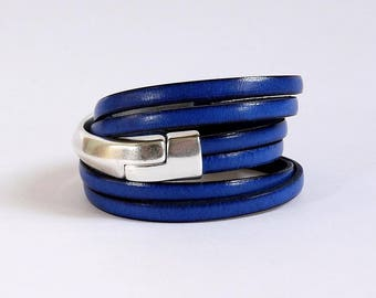 Blue leather strap and half silver Bangle with magnetic clasp - leather bracelet handmade woman