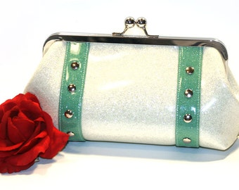 White Sparkle Clutch - Glitter Vinyl Bag - Rockabilly Purse - Retro Clutch - MADE TO ORDER