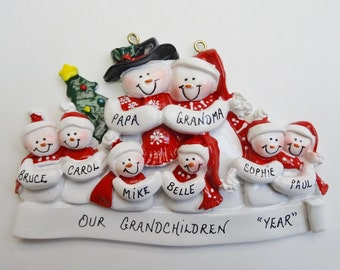 Personalized Snow Family of 8 Christmas Ornament - Personalized Free - Family of 8 Personalized Christmas Ornament