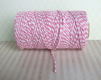 Rose Pink And White Bakers Twine - 10, 20 Yards