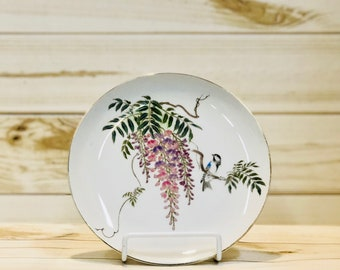 Wisteria Plate Floral with Bird