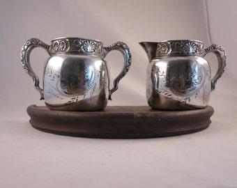 Antique Silver Creamer and Sugar St. Louis Silver Co Quadruple Silver Plate Etched Creamer and Sugar