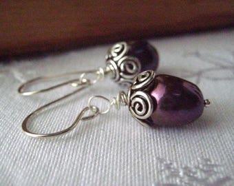 Pearl Earrings, Eggplant Pearl, Sterling Silver, Fancy Beadcaps, Swirl Beadcaps, Dangle Earrings, candies64