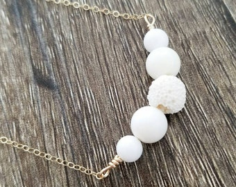 White Jade + Lava Aromatherapy Essential Oil Diffuser Necklace