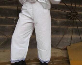 Pioneer Under Garments 1800s Costumes Pioneer Bloomers -White Pioneer Pantaloons- Child Size
