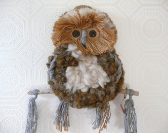 Handcrafted New Zealand Wool Owl Wallhanging - Made in New Zealand