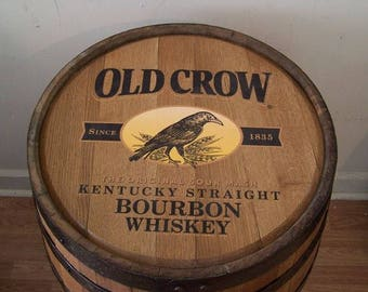 Whiskey Barrel Old Crow Kentucky Straight Bourbon -Sanded-Finished-FREE SHIPPING