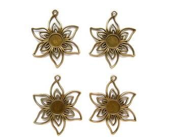 6 Antique Bronze Flower Charms/Connectors - 26-28