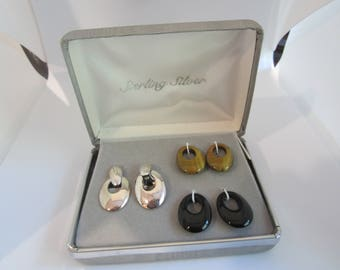 Vintage Convertible Earrings-Sterling Silver, Tiger Eye, Onyx-FREE SHIPPING (US)