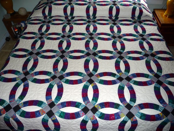 Amish Double Wedding Ring Quilt Handmade entirely of batik
