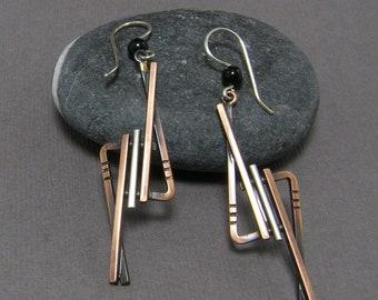 Geometric Modern Silver and Copper Earrings