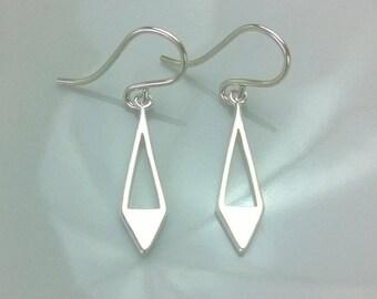 Sterling silver small spike earrings; sterling silver geometric earrings; simple silver earrings; simple silver dangle earrings