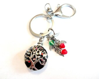 Tree of Life Urn Keychain, Remembrance Gifts, Remembrance Keychain, Urn Jewelry, Tree of Life Jewelry, Red and Green Keychain With Swarovski