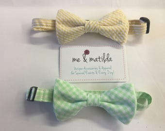 Little Boy's Bow Tie Set Yellow Seersucker and Mint Green Gingham Ready to Ship