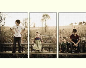 Your Photo on Canvas - Custom Sepia toned background - personalized canvas art, Photo to canvas, 3 Panel Custom