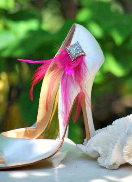 Shoe Clips Feather & Square Diamond Ivory Rhinestone Magenta. Also Ivory Diamond White Aqua Blue Teal Purple Red Green. Bride Bridal Bridesmaid Couture fc986c