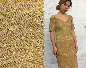 vintage stretchy gold lace bandage dress / metallic cocktail dress / off the shoulder bodycon dress