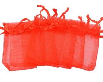 x 25 red organza gift pouches/pockets 7 x 5 cm