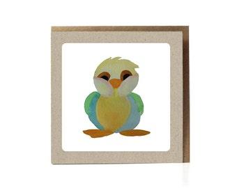 Cute Bird Illustration, Cute Card, Greeting Card, Eco-Friendly, Fun, Woodland Animal, Forest, Birthday Card, Bird, Baby Boy, new baby card