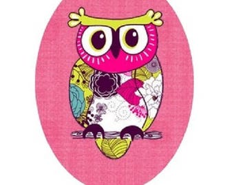 18x25mm owl (pink background)