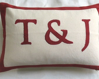 BEIGE monogram  pillow with 3 letters - custom made oblong boudoir pillow cover monogram could be customized. 12 X 20 inch