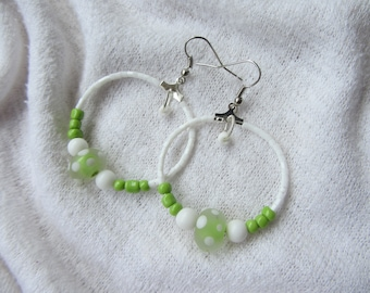 Dangling hoop earrings, lime green Lampwork bead with polka dots, big green and white seed beads, white jade, pop and Bohemian