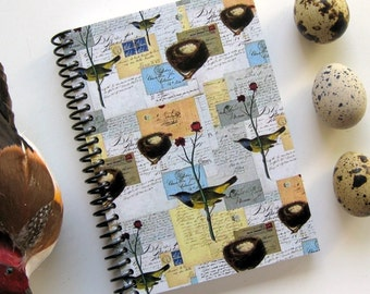 Birds and Nests Notebook - A6 Spiral Bound
