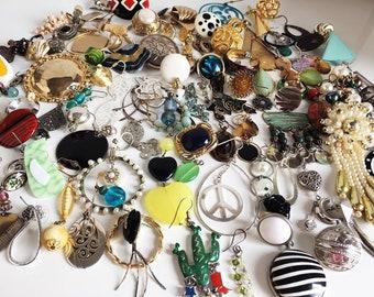 Huge Vintage to Now 100+ Destash Single Earrings Lot  Single Enamel Earrings Lot Vintage Rhinestone Earrings Craft Estate Jewelry Lot