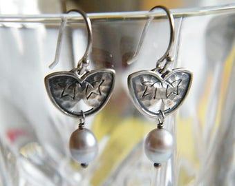 Silpada Pearl and Sterling Silver Drop Earrings, Designer Genuine Grey Pearl Dangle Earrings
