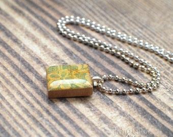 Lace Flower Scrabble Necklace, Handmade Scrabble Tile Art Pendant, Wood Pendant, Abstract Art Charm, Vintage Look, Tiny Jewelry